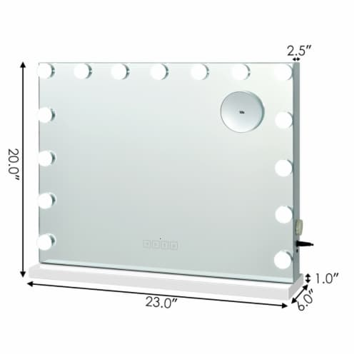 Costway Hollywood Vanity Lighted Mirror Touch Control Magnification  Speaker Perspective: back