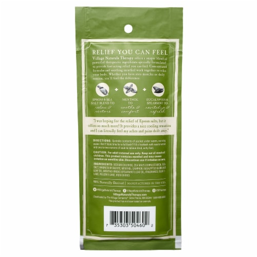 Village Naturals Therapy Aches + Pains Muscle Relief Mineral Bath Soak Perspective: back