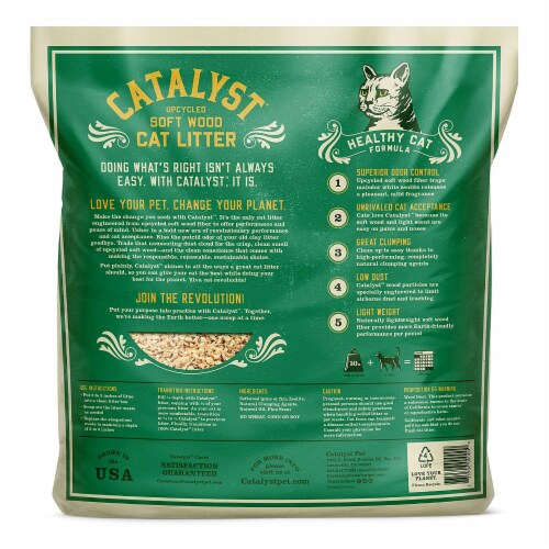 Catalyst Upcycled Soft Wood Cat Litter Odor Control Healthy Cat Formula, 10 Lbs Perspective: back