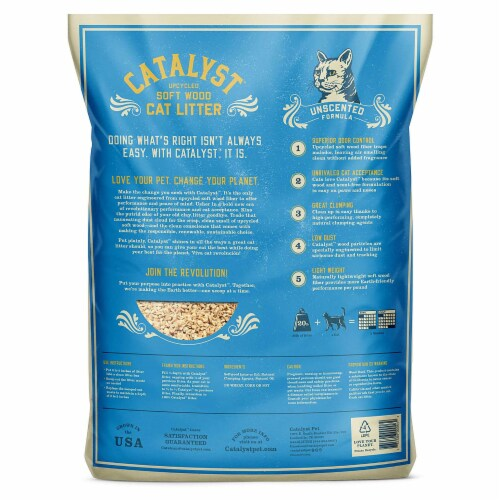 Catalyst Upcycled Soft Wood Cat Litter Odor Control Unscented Formula, 20 Pounds Perspective: back