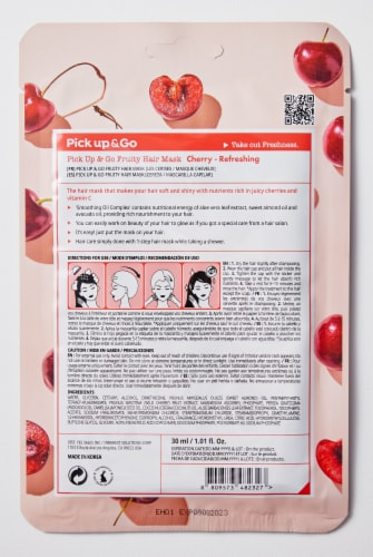 Pick Up & Go 15 Sheets Refreshing Cherry Hair Mask Cap Perspective: back