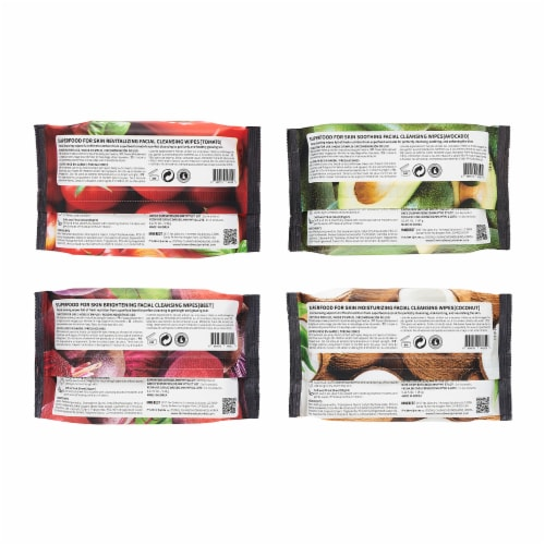 FARMSKIN 4 Packs Assorted Set Facial Cleansing Wipes (Superfood) Perspective: back