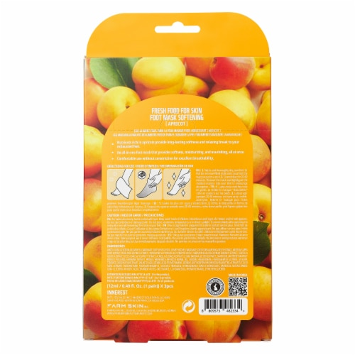 FARMSKIN 6 Sheets Softening Apricot Foot Masks (Freshfood) Perspective: back