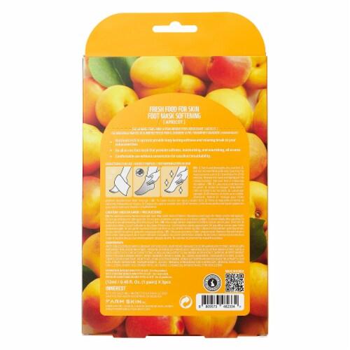 FARMSKIN 3 Sheets Softening Apricot Foot Masks (Freshfood) Perspective: back