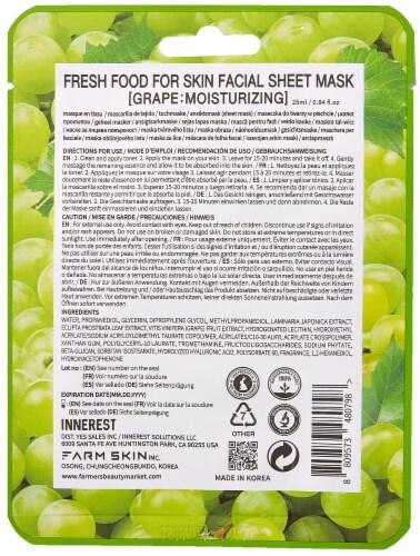 FARMSKIN 10 Sheets Moisturizing Set Facial Sheet Masks (Freshfood) Perspective: back