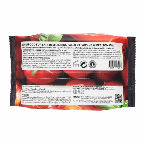 FARMSKIN 4 Packs Revitalizing Tomato Facial Cleansing Wipes (Superfood) Perspective: back