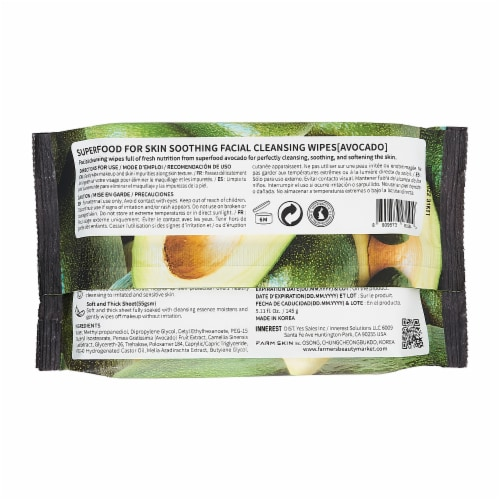 FARMSKIN 4 Packs Soothing Avocado Facial Cleansing Wipes (Superfood) Perspective: back