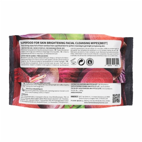 FARMSKIN 4 Packs Brightening Beet Facial Cleansing Wipes (Superfood) Perspective: back