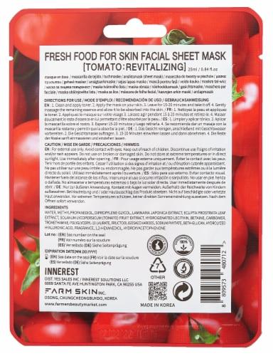 FARMSKIN 12 Sheets Revitalizing Tomato Facial Sheet Masks (Freshfood) Perspective: back