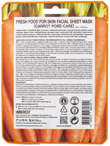 FARMSKIN 12 Sheets Pore-Care Carrot Facial Sheet Masks (Freshfood) Perspective: back
