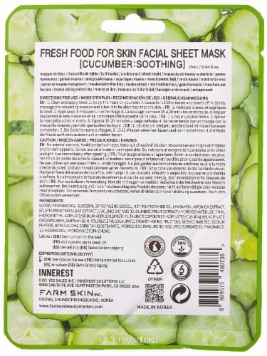 FARMSKIN 12 Counts Soothing Cucumber Facial Sheet Masks (Freshfood) Perspective: back