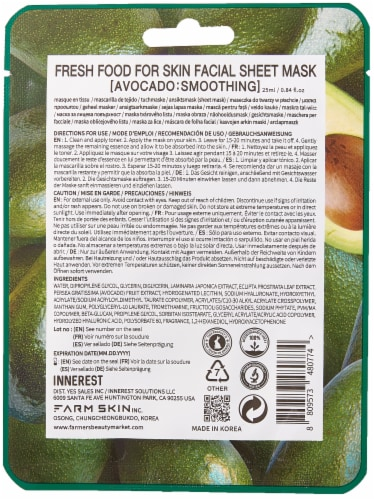 FARMSKIN 12 Sheets Smoothing Avocado Facial Sheet Masks (Freshfood) Perspective: back