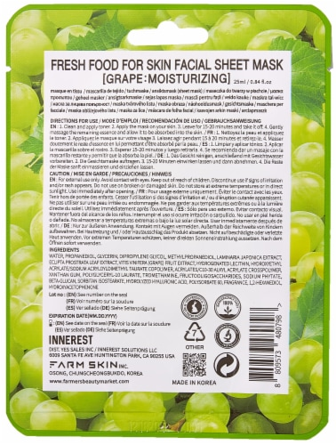 FARMSKIN 12 Sheets Moisturizing Grape Facial Sheet Masks (Freshfood) Perspective: back