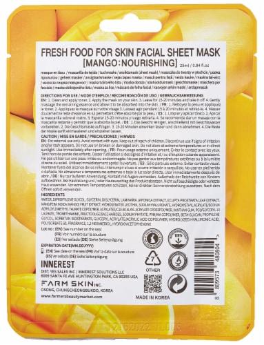 FARMSKIN 12 Sheets Noruishing Mango Facial Sheet Masks (Freshfood) Perspective: back