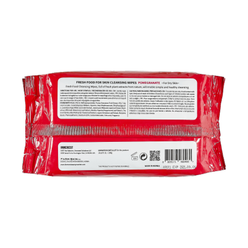 FARMSKIN 4 Packs Pomegranate Cleansing Wipes For Dry Skin (Freshfood) Perspective: back