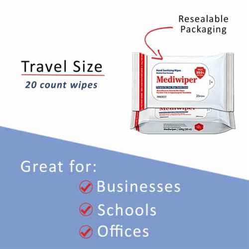 Mediwiper 2000 wipes Antibacterial Alcohol-Free Hand Sanitizer Wipes - 20 Count, 100 Packs Perspective: back