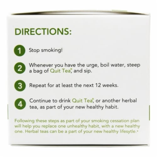 Quit Tea Stop Smoking Aid Tea Bags 20ct Natural Healthy Herbal Supplement Holistic Perspective: back