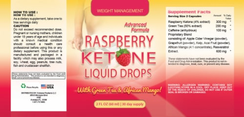 Raspberry Ketones Drops with Green Tea and African Mango Perspective: back