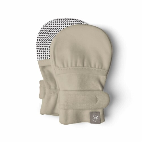 Goumikids Soft Organic Stay On No Scratch Baby Infant Hand Mittens, 3-6M Soybean Perspective: back