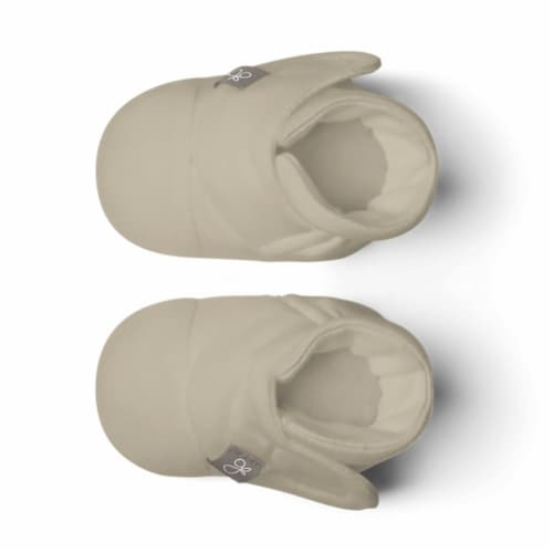Goumikids Soft Organic Stay On Adjustable Baby Infant Booties, 3-6M Soybean Perspective: back