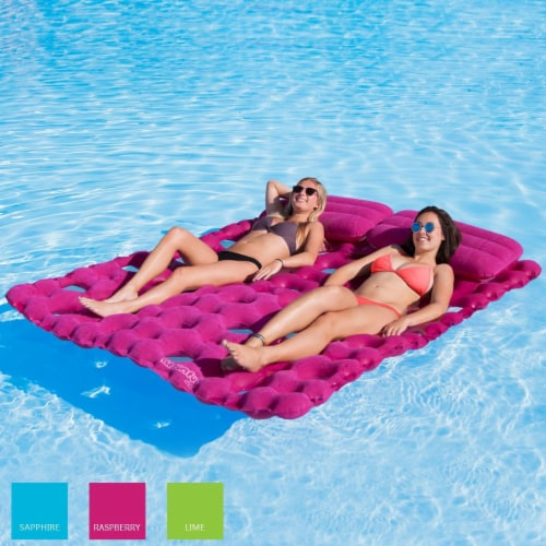 Airhead Sun Comfort Suede Double Swimming Pool Mattress Float, Raspberry Pink Perspective: back