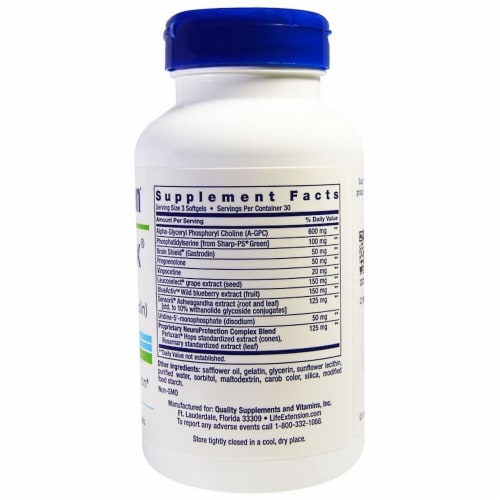 Life Extension Cognitex Plus Pregnenolone with Brain Shield, 90 Softgels Perspective: back