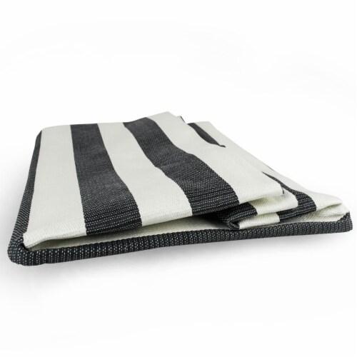 DII Paper Bin Stripe Black Rectangle Medium Perspective: back