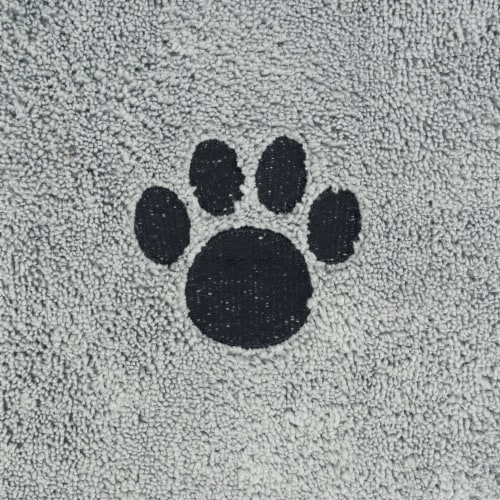 DII Gray Embroidered Paw Pet Towel Perspective: back