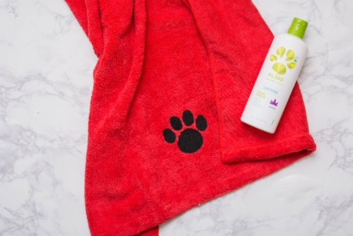 DII Red Embroidered Paw Pet Towel Perspective: back