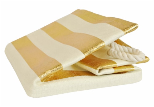 DII Paper Bin Stripe Gold Rectangle Small Perspective: back