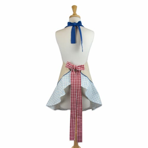 DII Red Rooster Ruffle Apron Perspective: back