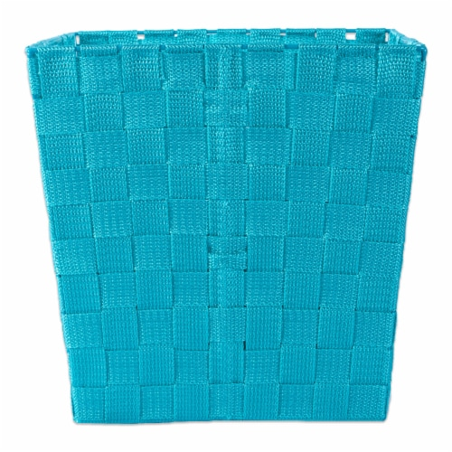 Design Imports CAMZ37523 13x13x13in Trapezoid Nylon Storage Bin Basketweave, Teal-Set of 2 Perspective: back
