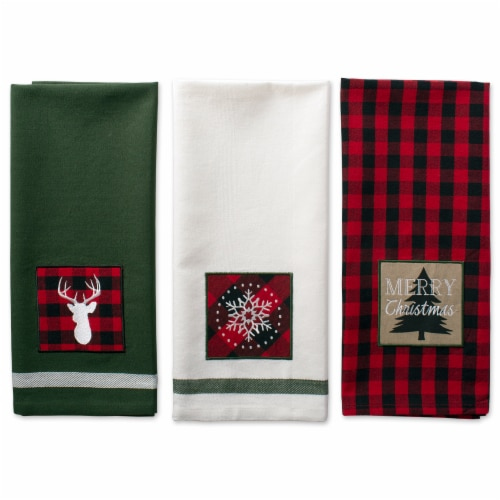 Design Imports Assorted Christmas Fireside Embellished Dish Towels Set - Set of 3 Perspective: back