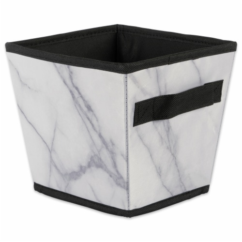 Design Imports CAMZ38243 Polyester Laundry Assorted Storage Bin, Marble White-Set of 4 Perspective: back