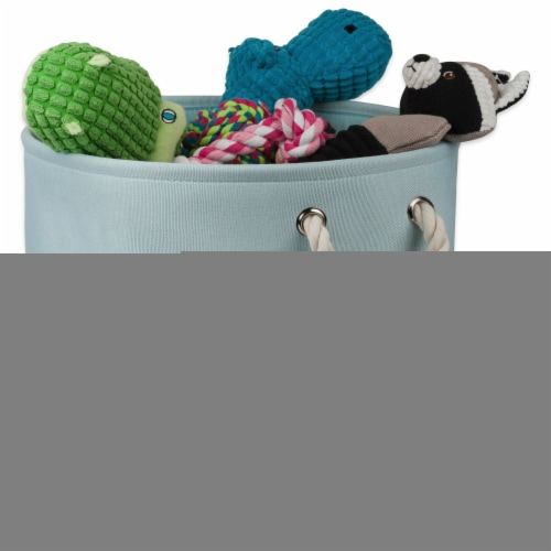 DII Polyester Pet Bin Paw Aqua Round Small Perspective: back
