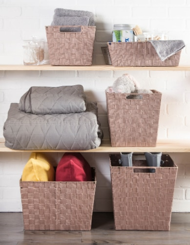 Design Imports CAMZ38900 13x15x5in Trapezoid Nylon Storage Bin Basketweave, Taupe-Set of 2 Perspective: back