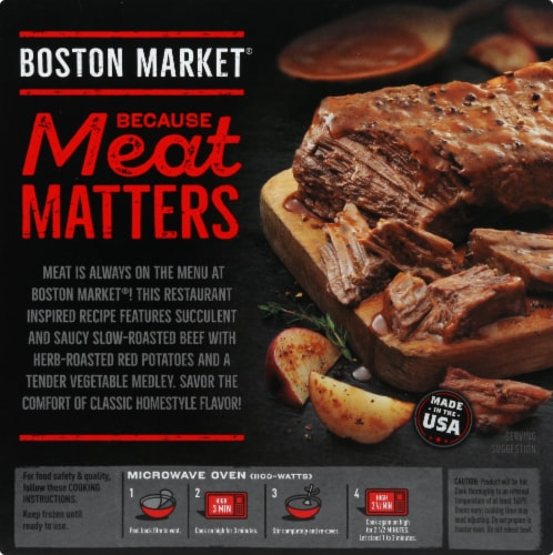 Boston Market Slow-Cooked Beef Bowl with Seasoned Red Potatoes Frozen Meal Perspective: back