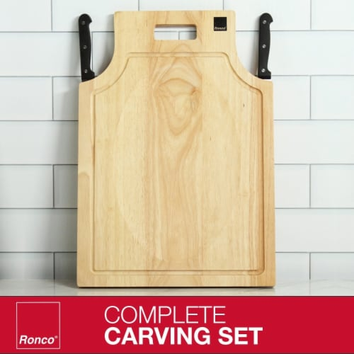 Ronco Carving Board Set, With Drip Catch Stainless Steel Carving Knife and Fork Perspective: back
