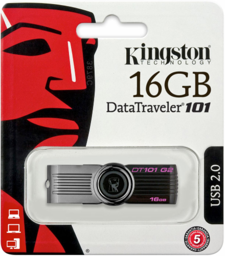 Kingston DataTraveler® 101 G2 USB Flash Drive - Black Perspective: back