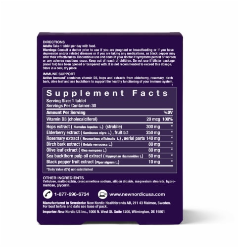 New Nordic Active Immune Support Tablets Perspective: back