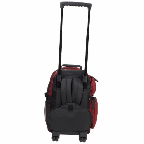Everest Deluxe Wheeled Backpack - Burgundy / Gray / Black Perspective: back