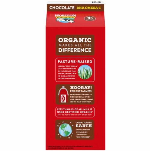 Horizon Organic DHA Omega-3 1% Chocolate Lowfat Milk Perspective: back