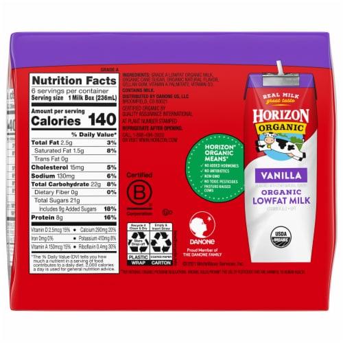 Horizon Organic 1% Vanilla Lowfat Milk Perspective: back