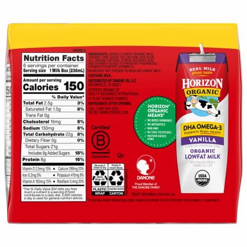 Horizon Organic® DHA Omega-3 Vanilla Lowfat Milk Perspective: back
