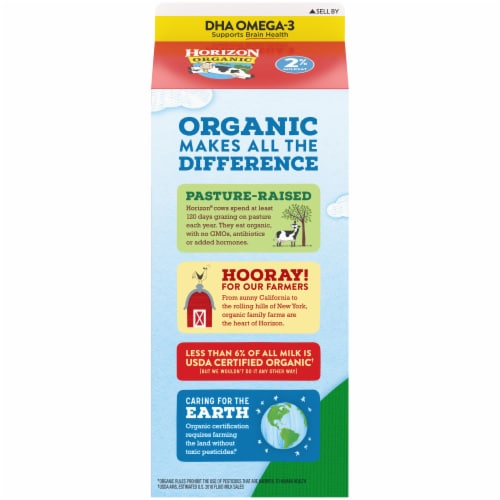 Horizon Organic® DHA Omega-3 2% Reduced Fat Milk Perspective: back