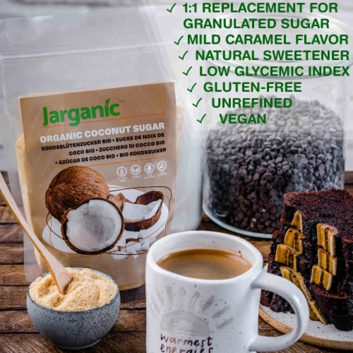 Organic Coconut Sugar 1 lb / 16 oz - Gluten-Free Vegan GMO-Free Paleo, Low Glycemic Index Perspective: back