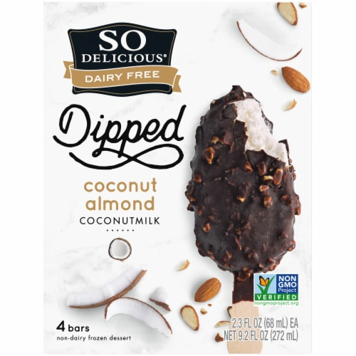SO Delicious Dairy Free Dipped Coconut Almond Coconutmilk Frozen Dessert Bars 4 Count Perspective: back