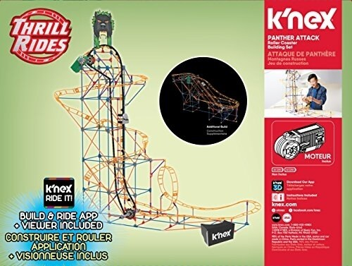 K'NEX Thrill Rides - Panther Attack Roller Coaster Building Set with Ride It! App - 690 Piece Perspective: back