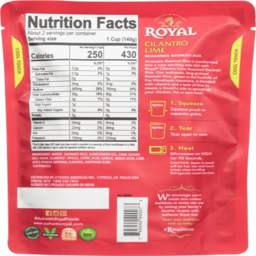 Royal Cilantro Lime Seasoned Basmati Rice Perspective: back