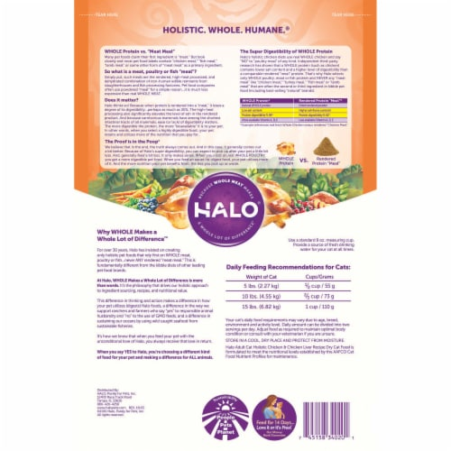 HALO Chicken & Chicken Liver Recipe Natural Dry Cat Food Perspective: back